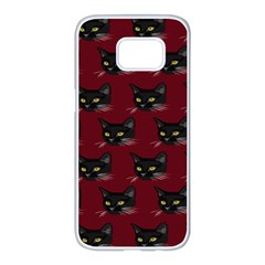 Face Cat Animals Red Samsung Galaxy S7 Edge White Seamless Case