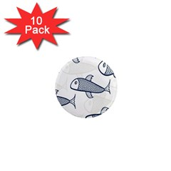 Fish Graphic Flooring Blue Seaworld Swim Water 1  Mini Magnet (10 Pack)