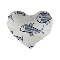 Fish Graphic Flooring Blue Seaworld Swim Water Standard 16  Premium Heart Shape Cushions