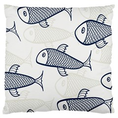 Fish Graphic Flooring Blue Seaworld Swim Water Large Flano Cushion Case (two Sides)