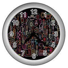 Features Illustration Wall Clocks (silver)