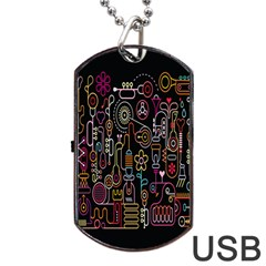Features Illustration Dog Tag Usb Flash (two Sides)