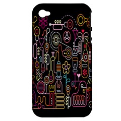 Features Illustration Apple Iphone 4/4s Hardshell Case (pc+silicone)