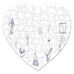 Formulas Laboratories Formulas Mathematics Chemistry Blue Jigsaw Puzzle (heart)