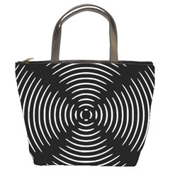 Gold Wave Seamless Pattern Black Hole Bucket Bags