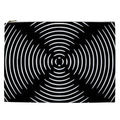 Gold Wave Seamless Pattern Black Hole Cosmetic Bag (xxl)