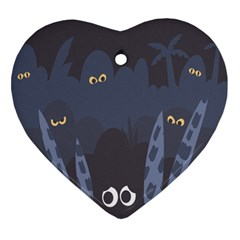 Ghost Halloween Eye Night Sinister Heart Ornament (two Sides)