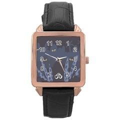 Ghost Halloween Eye Night Sinister Rose Gold Leather Watch