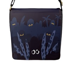 Ghost Halloween Eye Night Sinister Flap Messenger Bag (l)