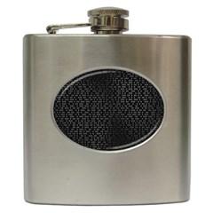 Gray Plaid Black Hip Flask (6 Oz)