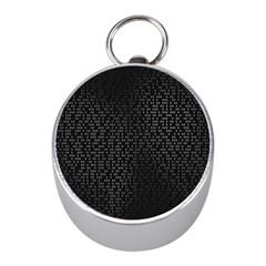 Gray Plaid Black Mini Silver Compasses