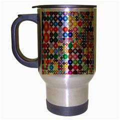 Circle Rainbow Polka Dots Travel Mug (silver Gray)