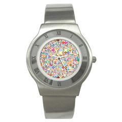 Circle Rainbow Polka Dots Stainless Steel Watch