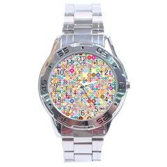 Circle Rainbow Polka Dots Stainless Steel Analogue Watch