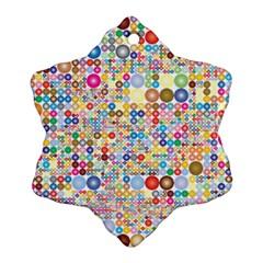 Circle Rainbow Polka Dots Snowflake Ornament (two Sides)