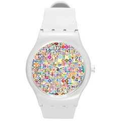 Circle Rainbow Polka Dots Round Plastic Sport Watch (m)