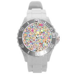 Circle Rainbow Polka Dots Round Plastic Sport Watch (l)