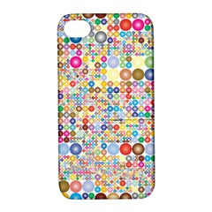 Circle Rainbow Polka Dots Apple Iphone 4/4s Hardshell Case With Stand