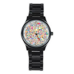 Circle Rainbow Polka Dots Stainless Steel Round Watch