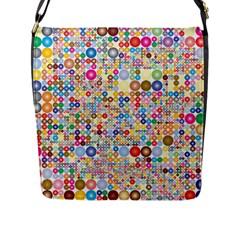 Circle Rainbow Polka Dots Flap Messenger Bag (l)