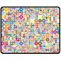 Circle Rainbow Polka Dots Double Sided Fleece Blanket (medium)