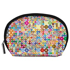 Circle Rainbow Polka Dots Accessory Pouches (large)