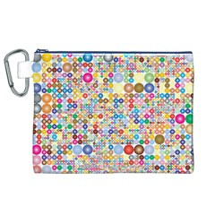 Circle Rainbow Polka Dots Canvas Cosmetic Bag (xl)