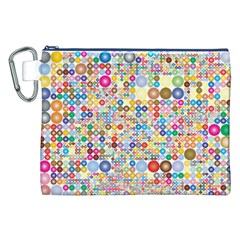 Circle Rainbow Polka Dots Canvas Cosmetic Bag (xxl)