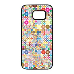 Circle Rainbow Polka Dots Samsung Galaxy S7 Edge Black Seamless Case