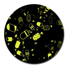 Ice Cream Cool Yellow Round Mousepads