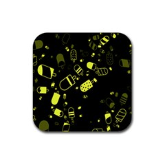 Ice Cream Cool Yellow Rubber Square Coaster (4 Pack)
