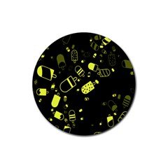 Ice Cream Cool Yellow Rubber Round Coaster (4 Pack)