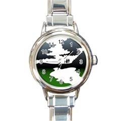 Landscape Silhouette Clipart Kid Abstract Family Natural Green White Round Italian Charm Watch