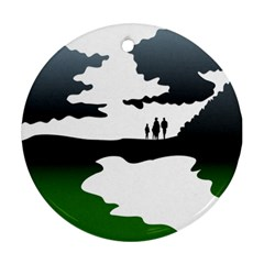 Landscape Silhouette Clipart Kid Abstract Family Natural Green White Ornament (round)