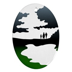 Landscape Silhouette Clipart Kid Abstract Family Natural Green White Ornament (oval)