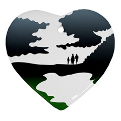 Landscape Silhouette Clipart Kid Abstract Family Natural Green White Ornament (heart)