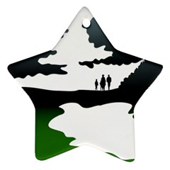Landscape Silhouette Clipart Kid Abstract Family Natural Green White Ornament (star)