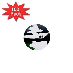 Landscape Silhouette Clipart Kid Abstract Family Natural Green White 1  Mini Buttons (100 Pack)