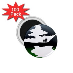 Landscape Silhouette Clipart Kid Abstract Family Natural Green White 1 75  Magnets (100 Pack)