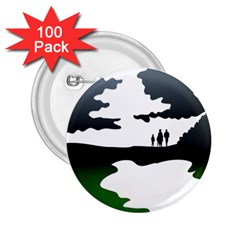 Landscape Silhouette Clipart Kid Abstract Family Natural Green White 2 25  Buttons (100 Pack)