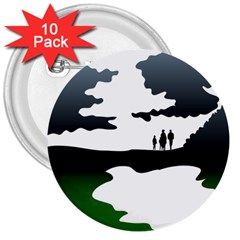 Landscape Silhouette Clipart Kid Abstract Family Natural Green White 3  Buttons (10 Pack)