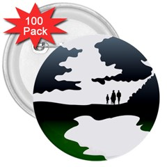 Landscape Silhouette Clipart Kid Abstract Family Natural Green White 3  Buttons (100 Pack)