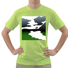 Landscape Silhouette Clipart Kid Abstract Family Natural Green White Green T Shirt