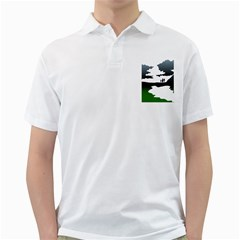Landscape Silhouette Clipart Kid Abstract Family Natural Green White Golf Shirts