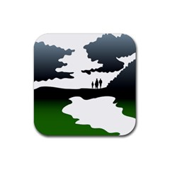 Landscape Silhouette Clipart Kid Abstract Family Natural Green White Rubber Square Coaster (4 Pack)