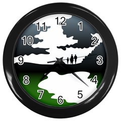 Landscape Silhouette Clipart Kid Abstract Family Natural Green White Wall Clocks (black)