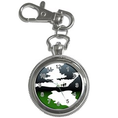 Landscape Silhouette Clipart Kid Abstract Family Natural Green White Key Chain Watches
