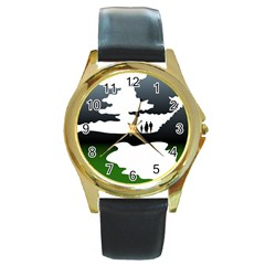 Landscape Silhouette Clipart Kid Abstract Family Natural Green White Round Gold Metal Watch