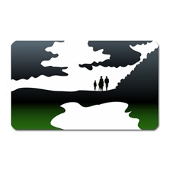 Landscape Silhouette Clipart Kid Abstract Family Natural Green White Magnet (rectangular)