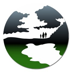 Landscape Silhouette Clipart Kid Abstract Family Natural Green White Magnet 5  (round)